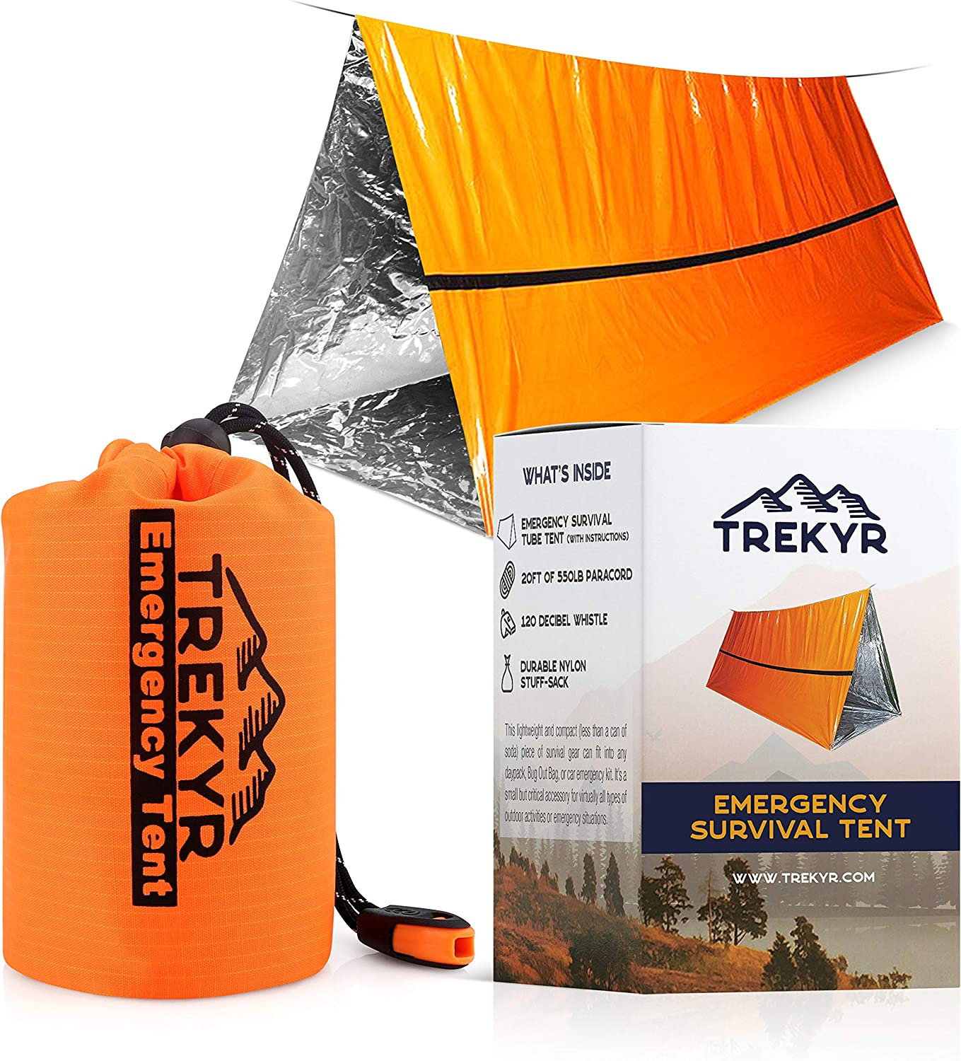 TREKYR Survival Shelter - Emergency Tent 2 Person Waterproof for Hiking Survival Kit - SurvivalTent for Your Bug Out Bag or Disaster Kit -Tube Tent Has Instructions +Emergency Whistle + Paracord