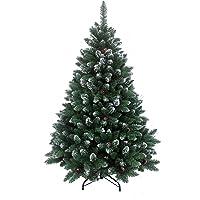RS Trade HXT 15013 künstlicher Weihnachtsbaum 120-270 cm mit Schnee und Zapfen, schwer entflammbarer Tannenbaum mit Schnellaufbau Klappsystem, inkl. Christbaum Ständer