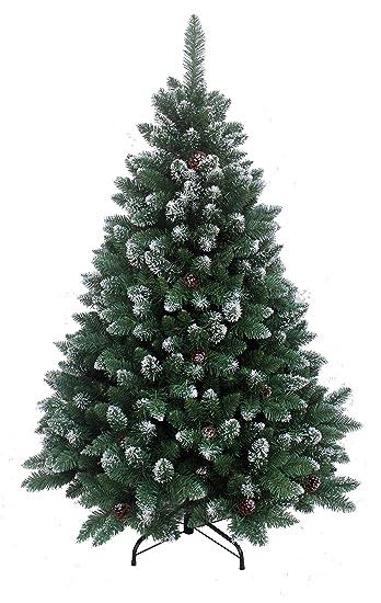 Künstlicher Weihnachtsbaum 150 Cm.Rs Trade 150 Cm Ca 760 Spitzen Exklusiver Dekorierter Künstlicher Weihnachtsbaum Mit Metallständer Beschneiten Spitzen Und Tannenzapfen Deko