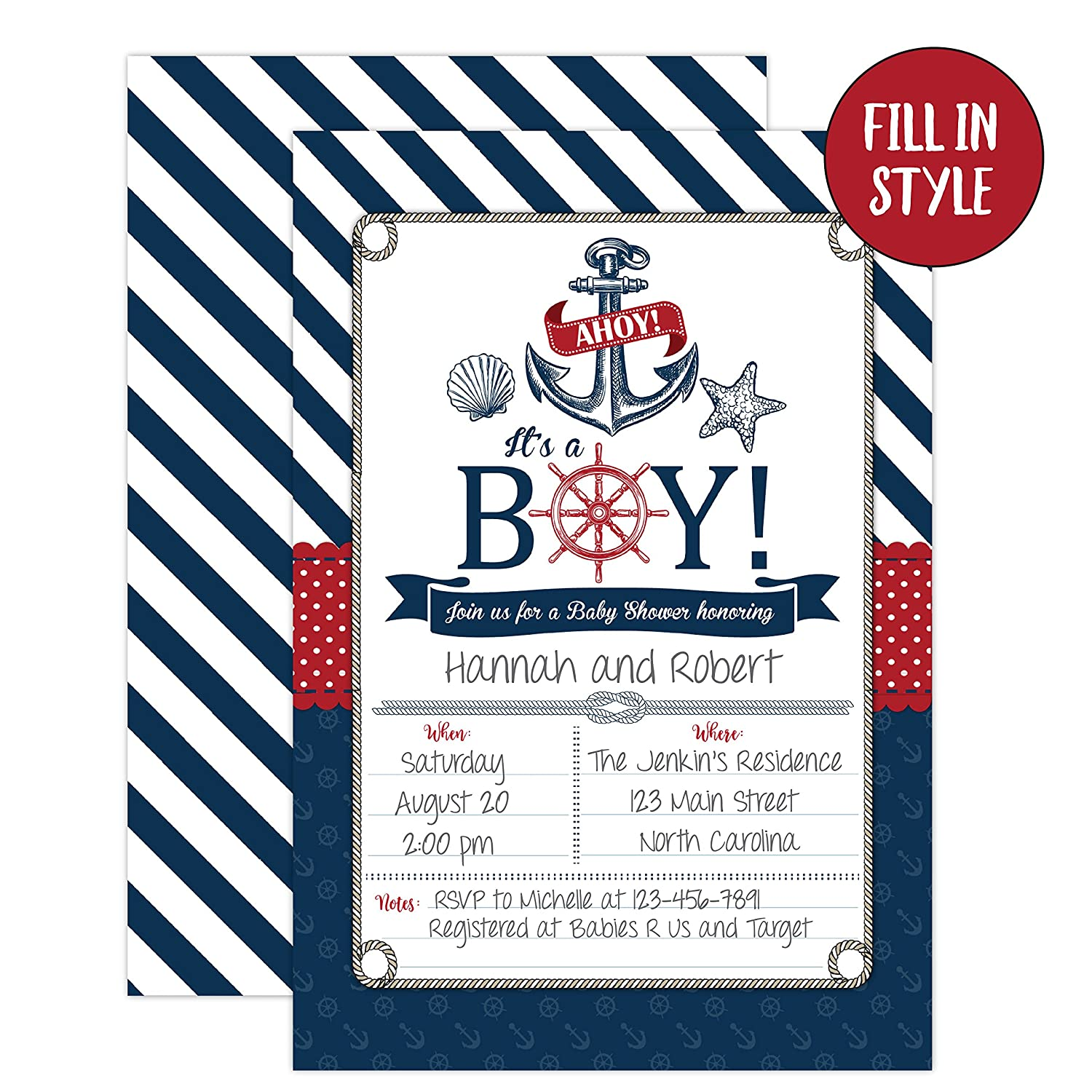 Amazon.com: Nautical Baby Shower Invitations, Ahoy It's a Boy Baby Shower  Invites, 20 Fill in Beach Themed Invitations and Envelopes, Anchor and  Seashells: ...