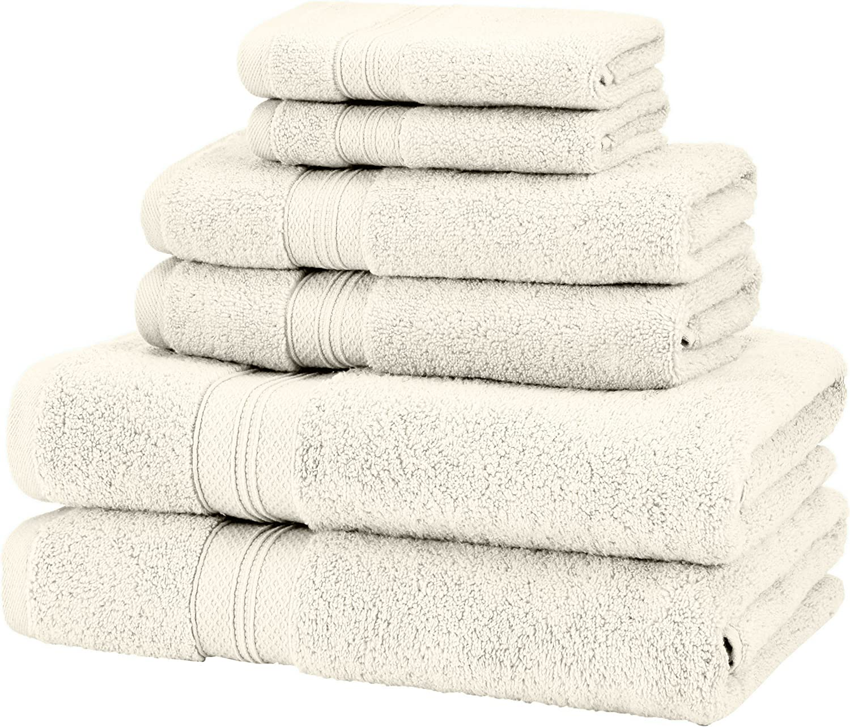 Set da 6 pezzi Set di 6 asciugamani in cotone 650 g avorio 100/% Cotone Cotone Spugna Pinzon Low Twist Pima