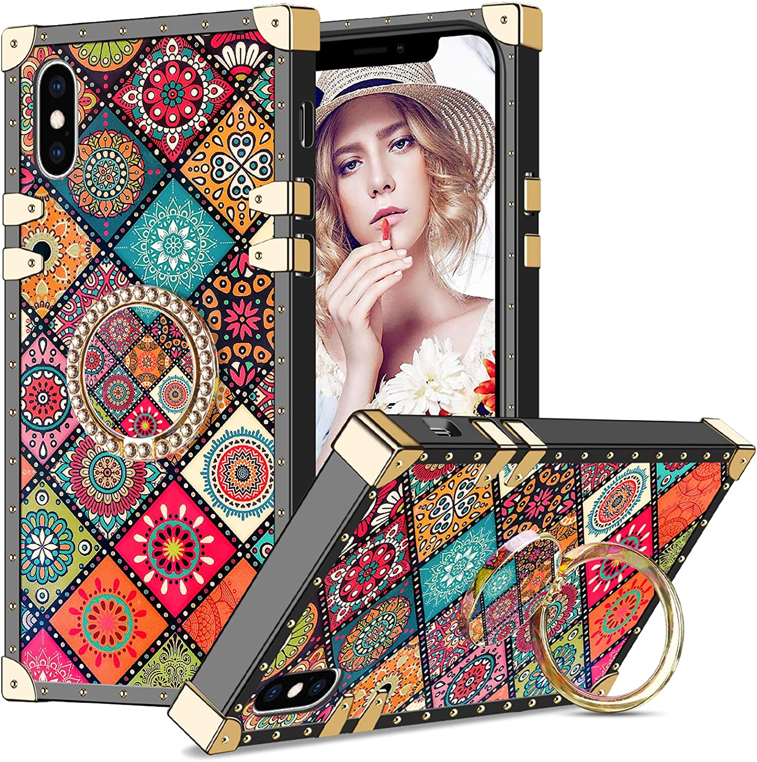 Wollony Square Case for iPhone X with Kickstand Ring Holder Luxury Retro Design for Women Girls Soft TPU Full Body Shockproof Protective Cover for iPhone Xs/X 5.8 inch Mandala