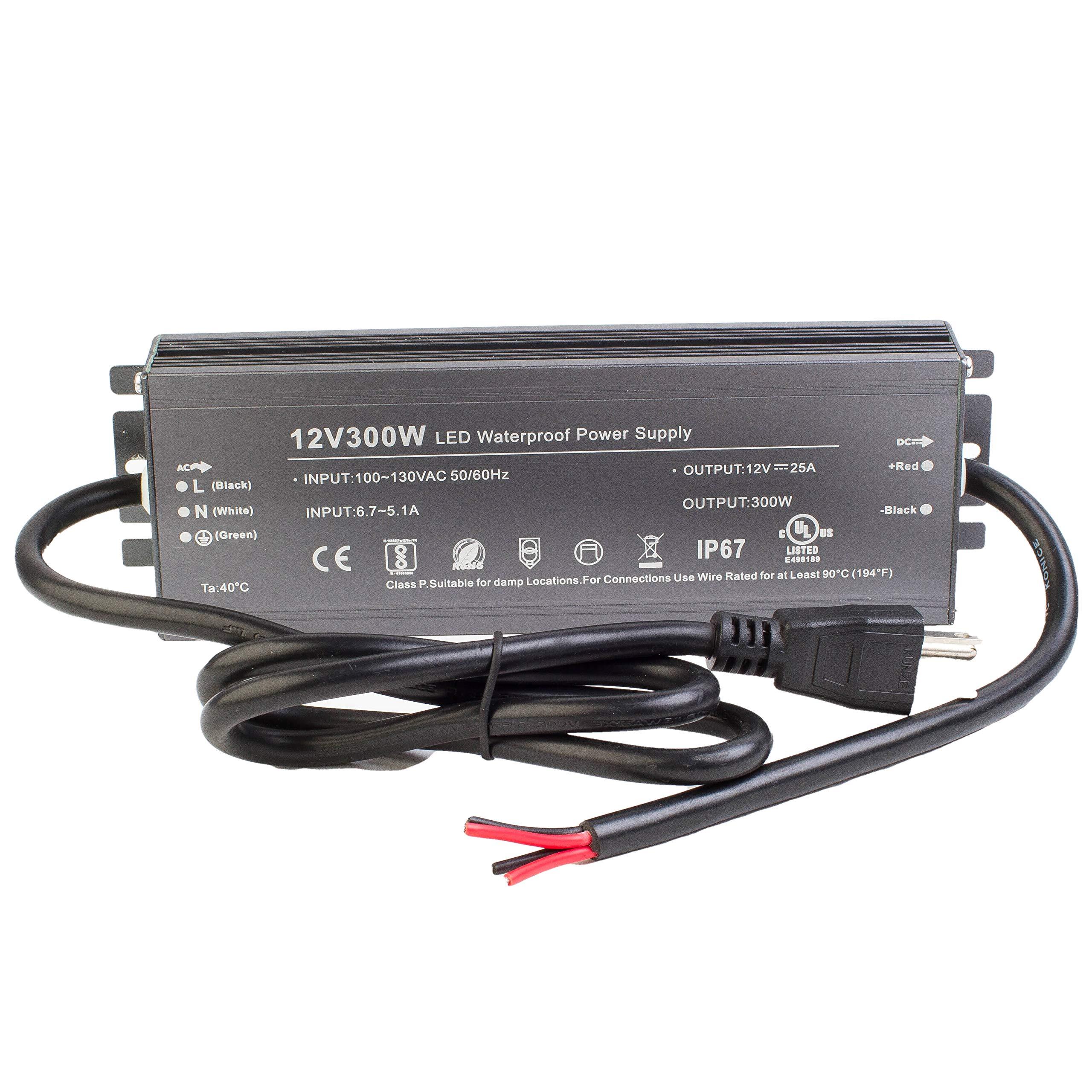 LEDUPDATES UL listed 300w LED Strip light Power Supply Driver Transformer 110v to DC Output for LED Light & CCTV (12V)