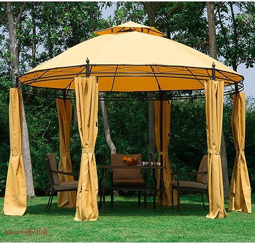 11.5 Ft redonda al aire libre Patio toldo Gazebo 2-Tier techo tienda refugio w/cortinas: Amazon.es: Jardín