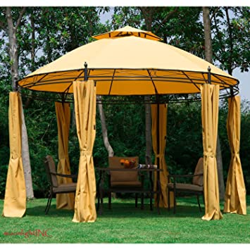 11.5FT Round Outdoor Patio Canopy Gazebo 2 Tier Roof Tent Shelter W/  Curtains