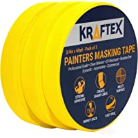 Painters Tape 180YRD x ¾ Inch for Pro Painting [Clean Lines Everytime] 3 x 60YRD Rolls. Masking for Paint, Wallpaper, Wood, Glass, Metal. Protect Walls, Surfaces. Yellow Paper Tape, Prevents Stains