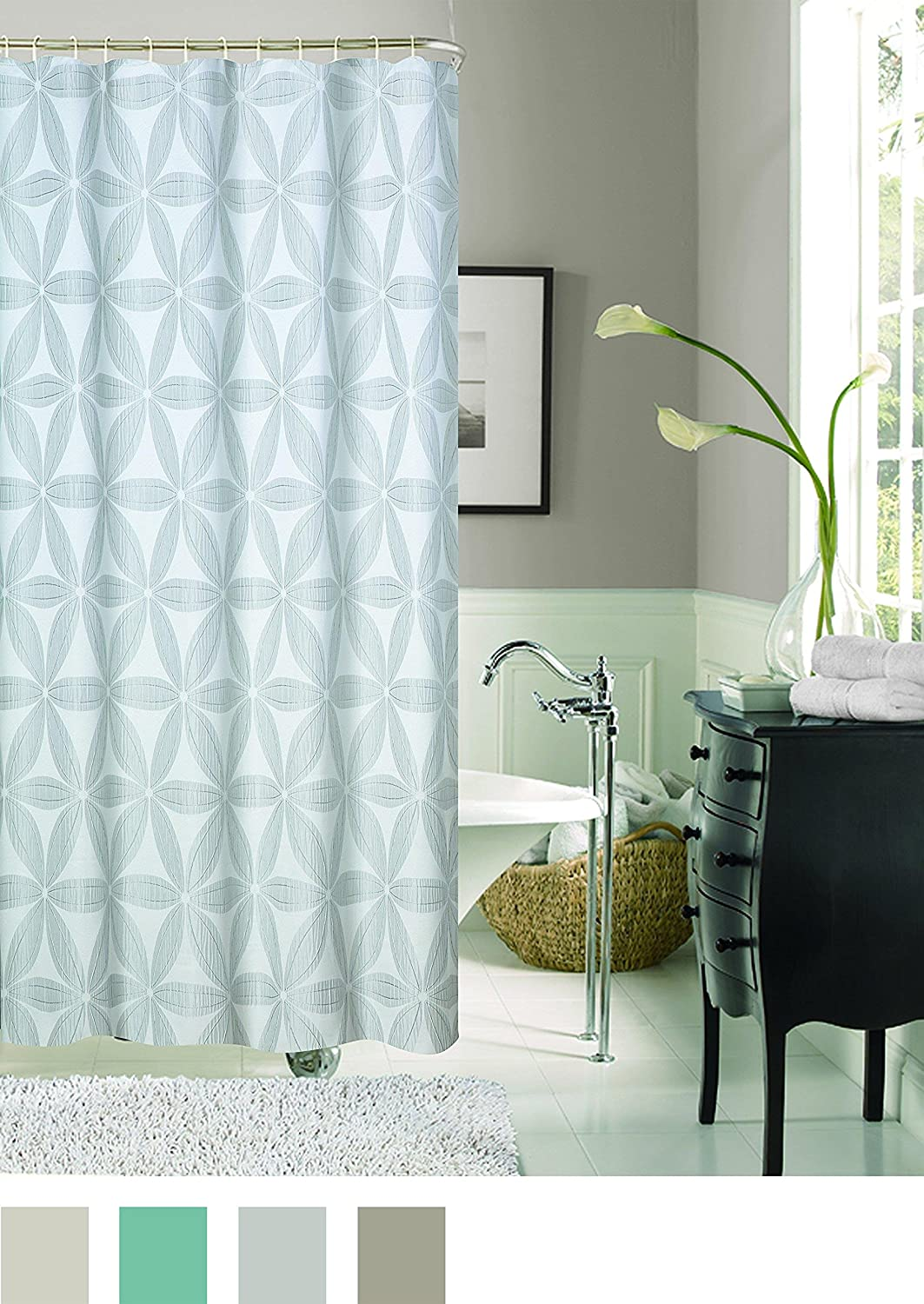 Dainty Home Iris Heavy Jacquard Fabric Shower Curtain Taupe Kitchen Jpg 1063x1500 Wvu