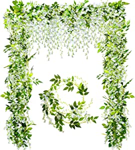 WILLBOND Artificial Flowers Garland White Ivy Vine Rattan Hanging Flowers for Wedding Arch Floral Decor Party Home Garden Wall Decoration, 4 Pieces (Total 28.8 ft)