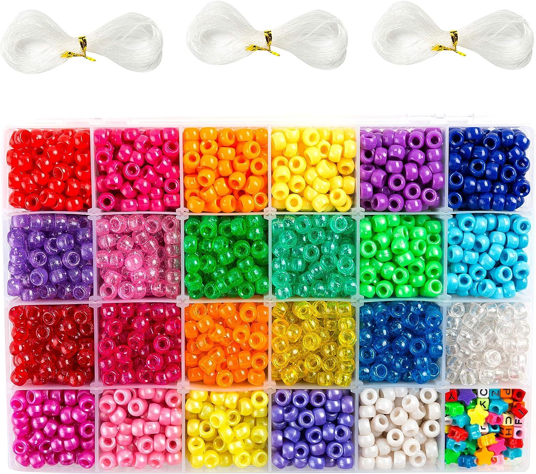 9mm Diameter Plastic Assorted Neon Beads Rave Beads Jewelry Beads 500 Neon Pony Beads WoodWell\u00ae Shop Bracelet Beads Craft Beads
