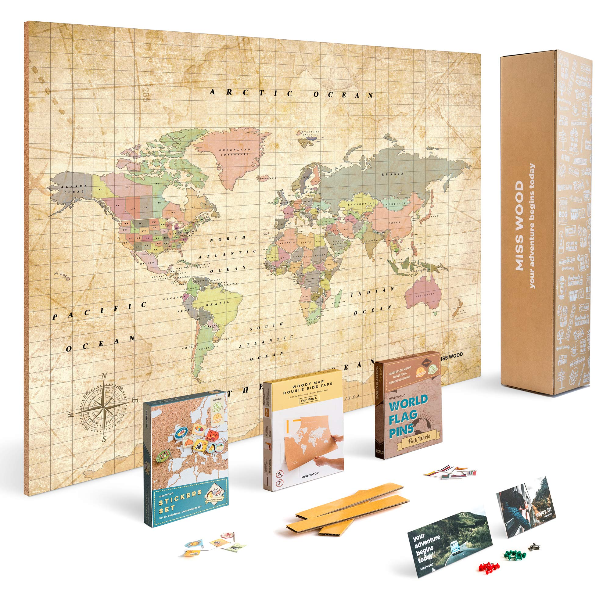 Push Pin Travel Map Kit Includes: Cork World Travel Map, World Flags, Food Stickers, for Travelers (Old School, L (17.7 x 23.6 inches))