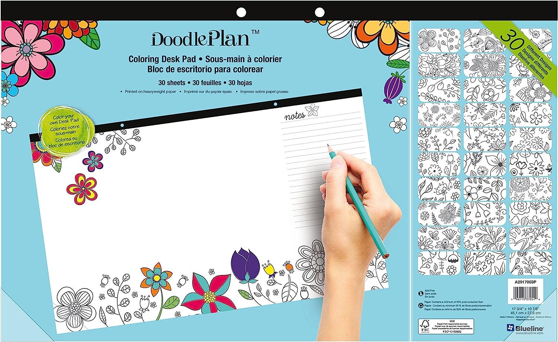 Blueline DoodlePlan Coloring Desk Pad, Garden Design, 17.75 x 10.875 inches (A2917003P)