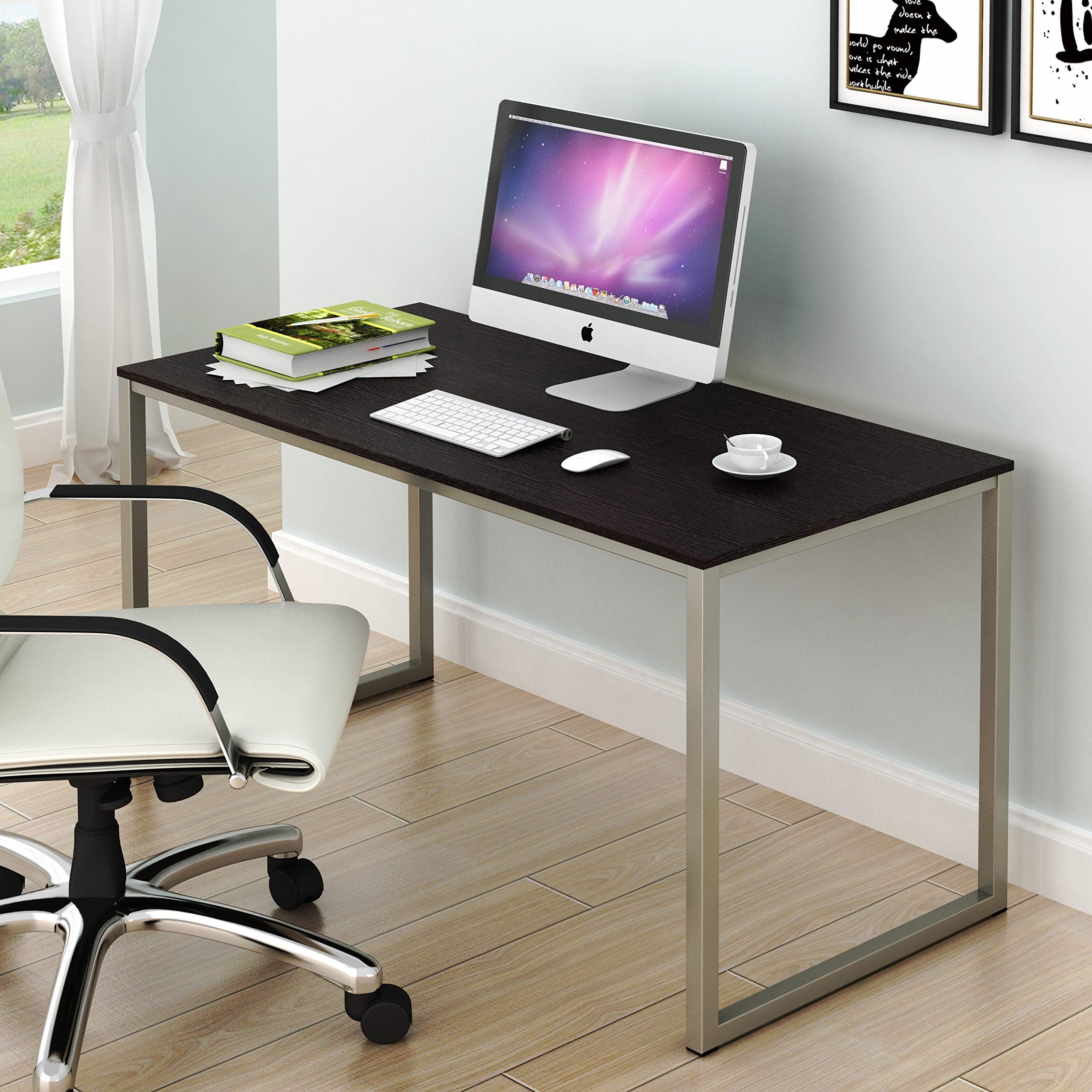 SHW Home Office 48-Inch Computer Desk, Silver/Espresso by SHW