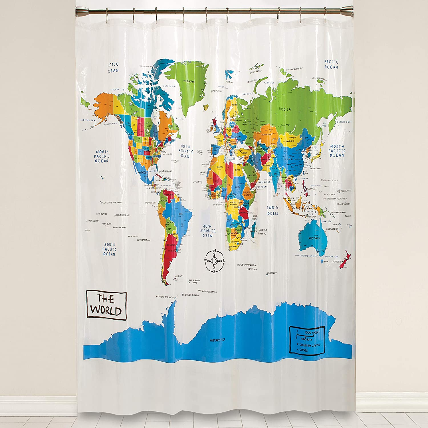 Multicolored 70 inches x 72 inches World Map Shower Curtain SKL Home by Saturday Knight Ltd