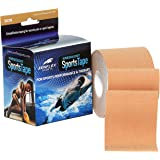 "Zenflex Kinesiology Sports Tape Athletic 2"" wide and 16 feet of continuous roll, Taping for Knee, Shoulder and Muscle (Beige)"