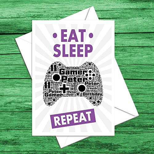 Handmade Personalised Eat Sleep Game Repeat Birthday Card Son Grandson Father