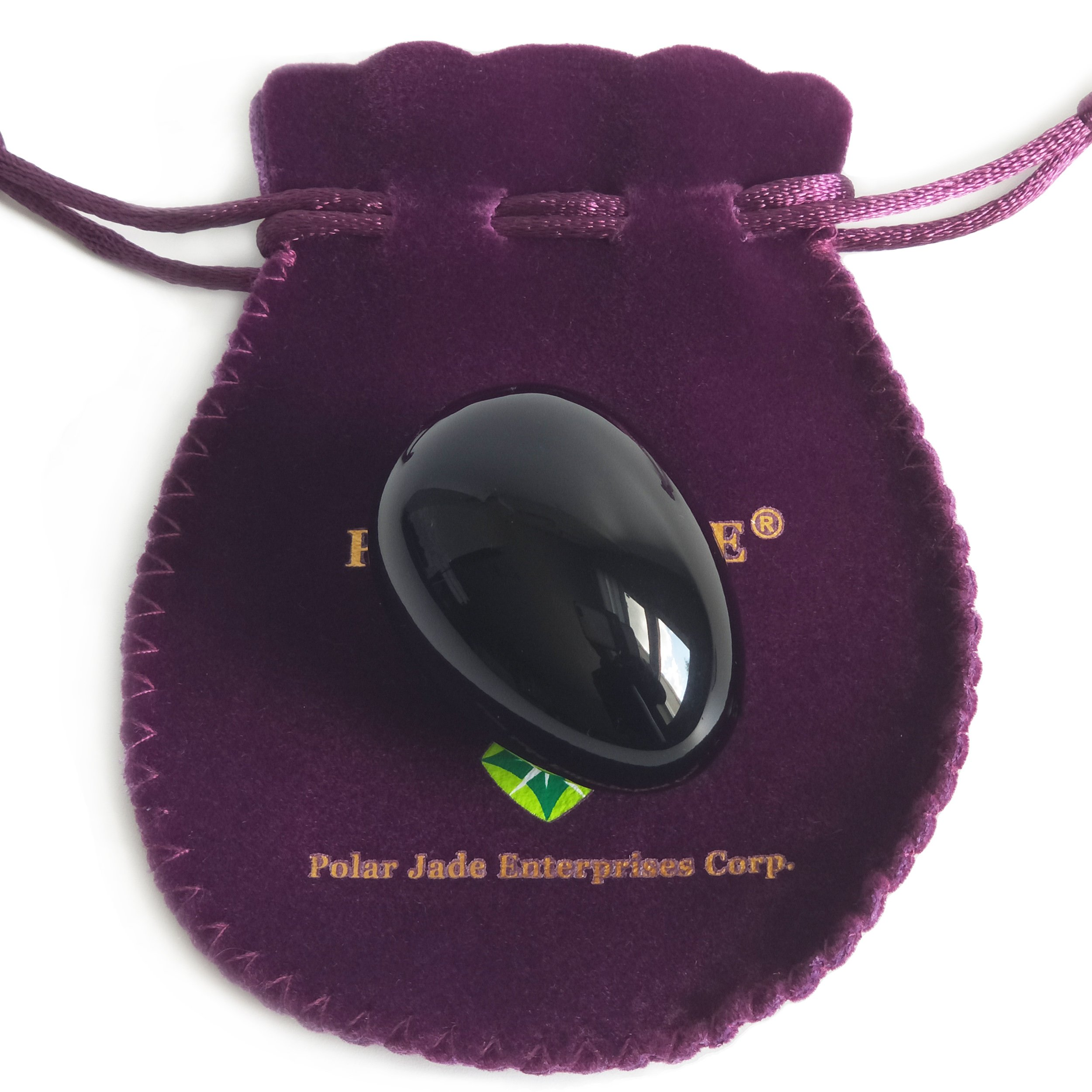 Yoni Egg, Undrilled, Made of Obsidian Gemstone (Kegel Jade Egg), Medium Size (43x30mm), With Certification of Authenticity and Jewelry Pouch, For Exercise or Decoration by Polar Jade