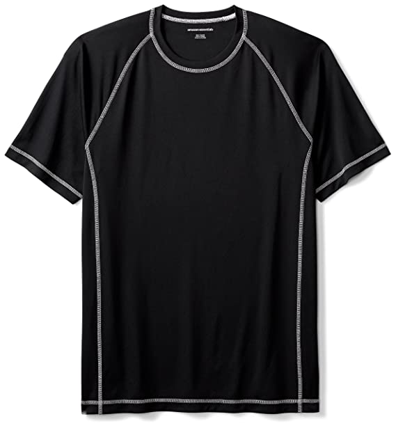 7f5cfd46a0ff Amazon Essentials Men's Short-Sleeve Quick-Dry UPF 50 Swim Tee, Black,
