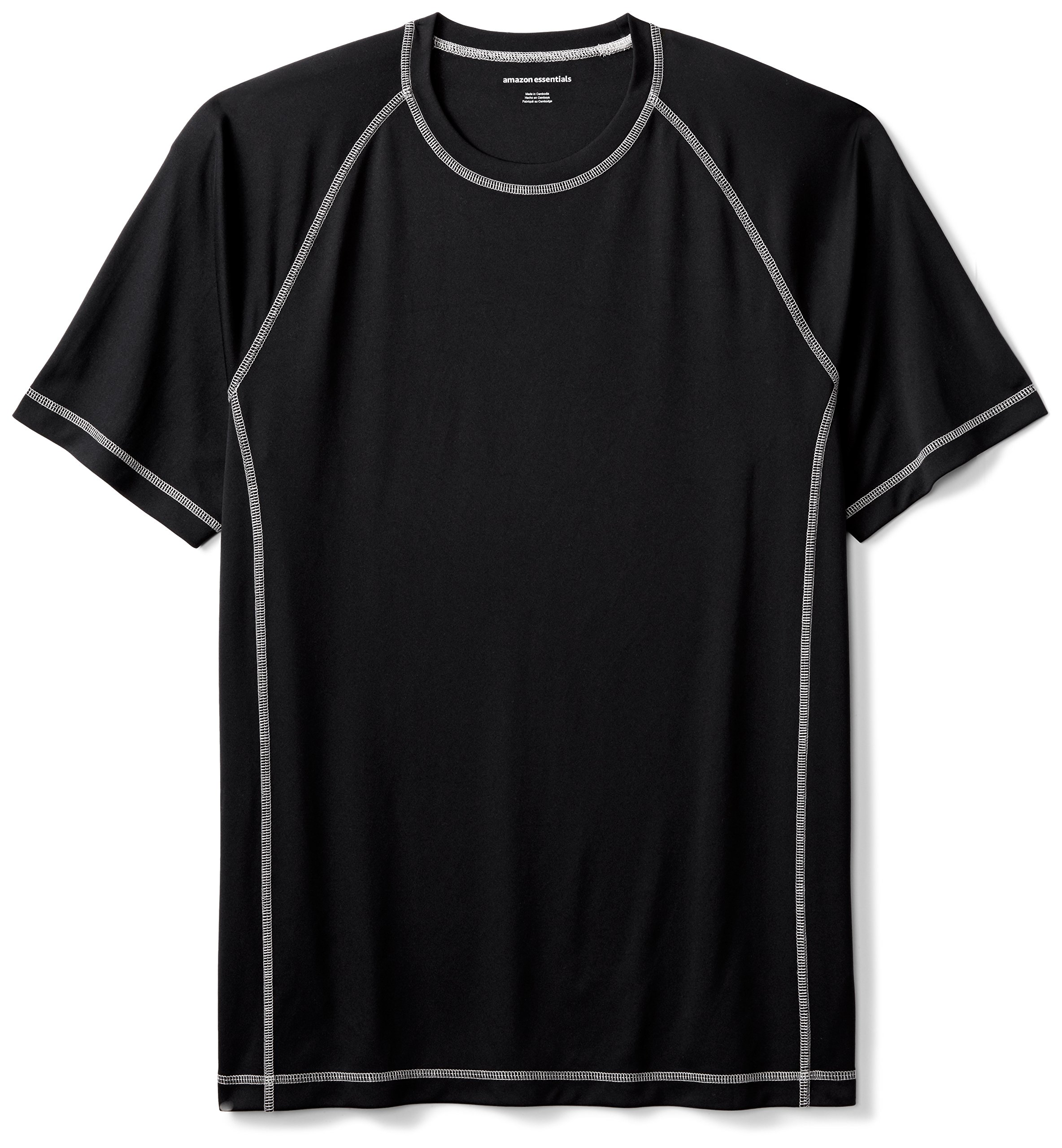 Amazon Essentials Men's Short-Sleeve Quick-Dry UPF 50 Swim Tee, Black, X-Large