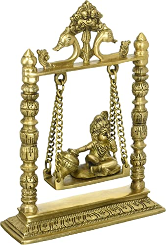 Krishna on a Swing – Brass Sculpture