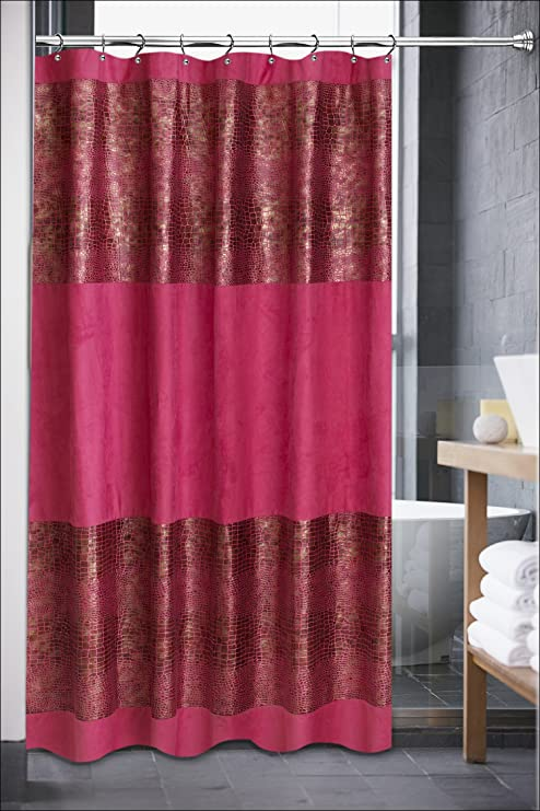 Popular Home The Luxa Hotel Collection Annika Crocodile Pattern Shower Curtain Fuchsia