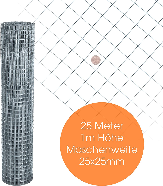 H/öhe 1,00 m 10 Meter 12 x 12 mm ESTEXO Volierendraht feuerverzinkt