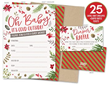 Baby Itu0027s Cold Outside Winter Baby Shower Invitations And Diaper Raffle  Tickets With Winter Florals.
