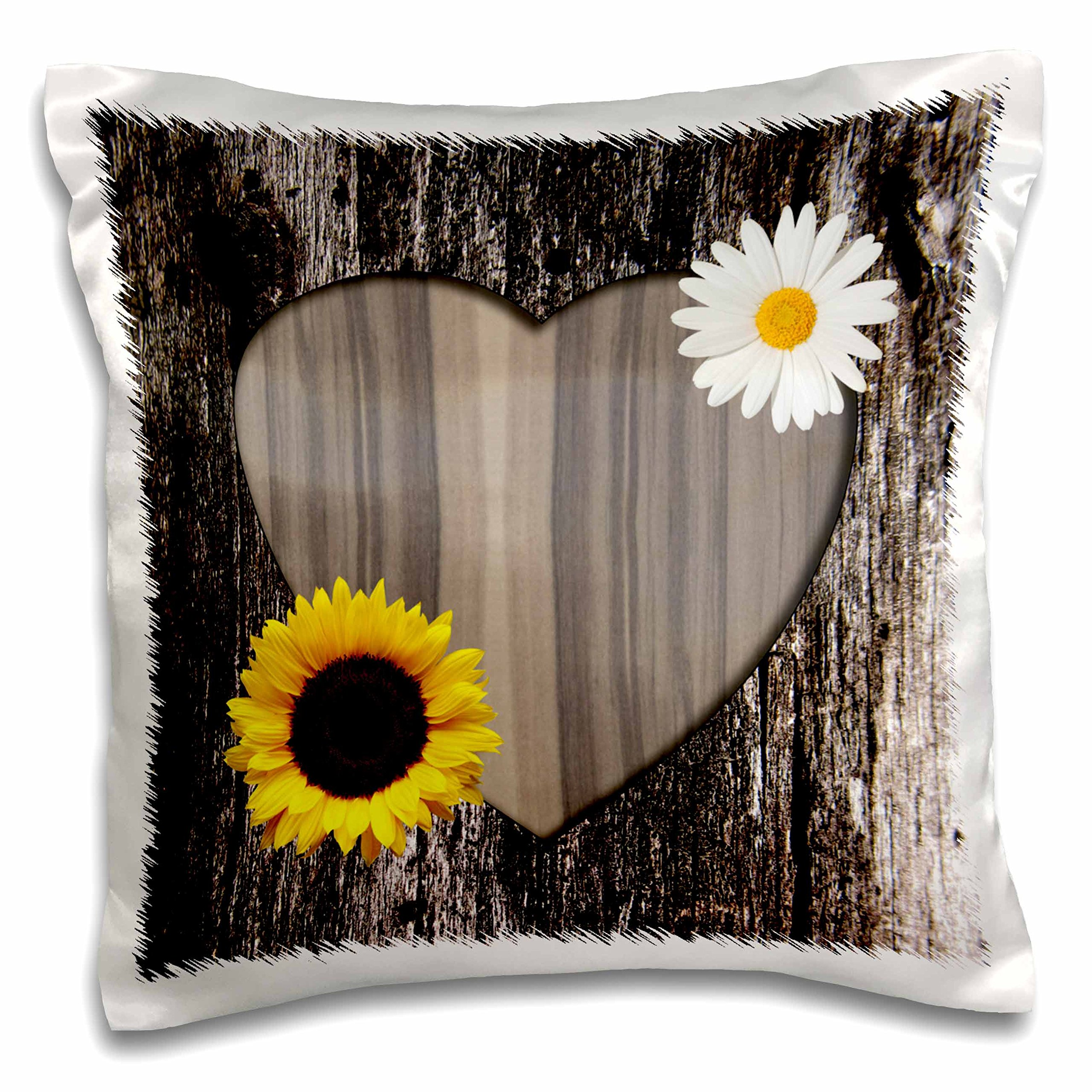 3dRose pc_181828_1 Wood Image Heart with Sunflower and Daisy Pillow Case, 16'' x 16''