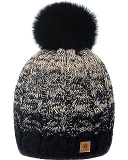 3d645cc4185 MFAZ Morefaz Ltd Women Men Winter Beanie Hat Knitted Chunky Fashion Ski Cap  Pom Pom Fleece…