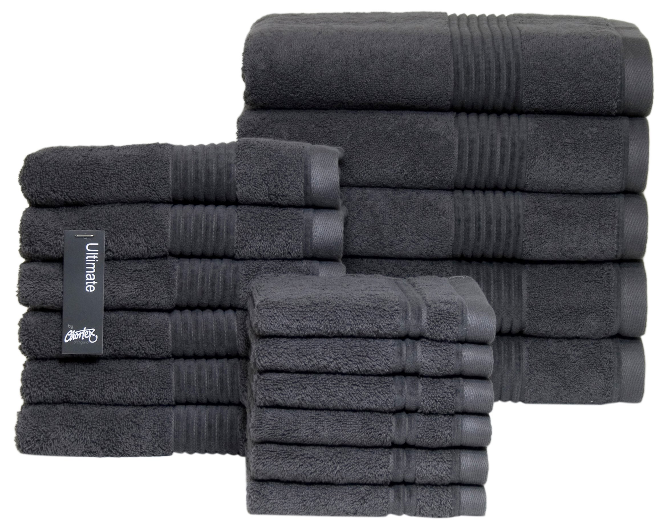 Chortex Zero Twist Cotton 17 Piece Towel Set, Set of 17, Charcoal