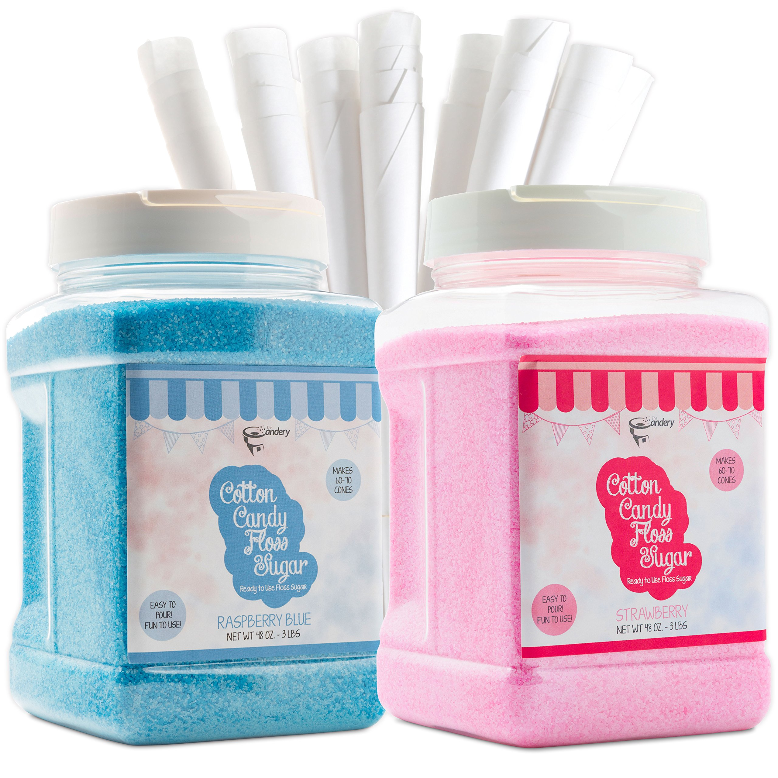 The Candery Cotton Candy Floss Sugar (2-Pack) Includes 100 Premium Cones | Raspberry Blue and Strawberry | Plastic, Reusable Jars | Easy Pour Spout or Scoop | Includes Scooper | 3 LBS Jars