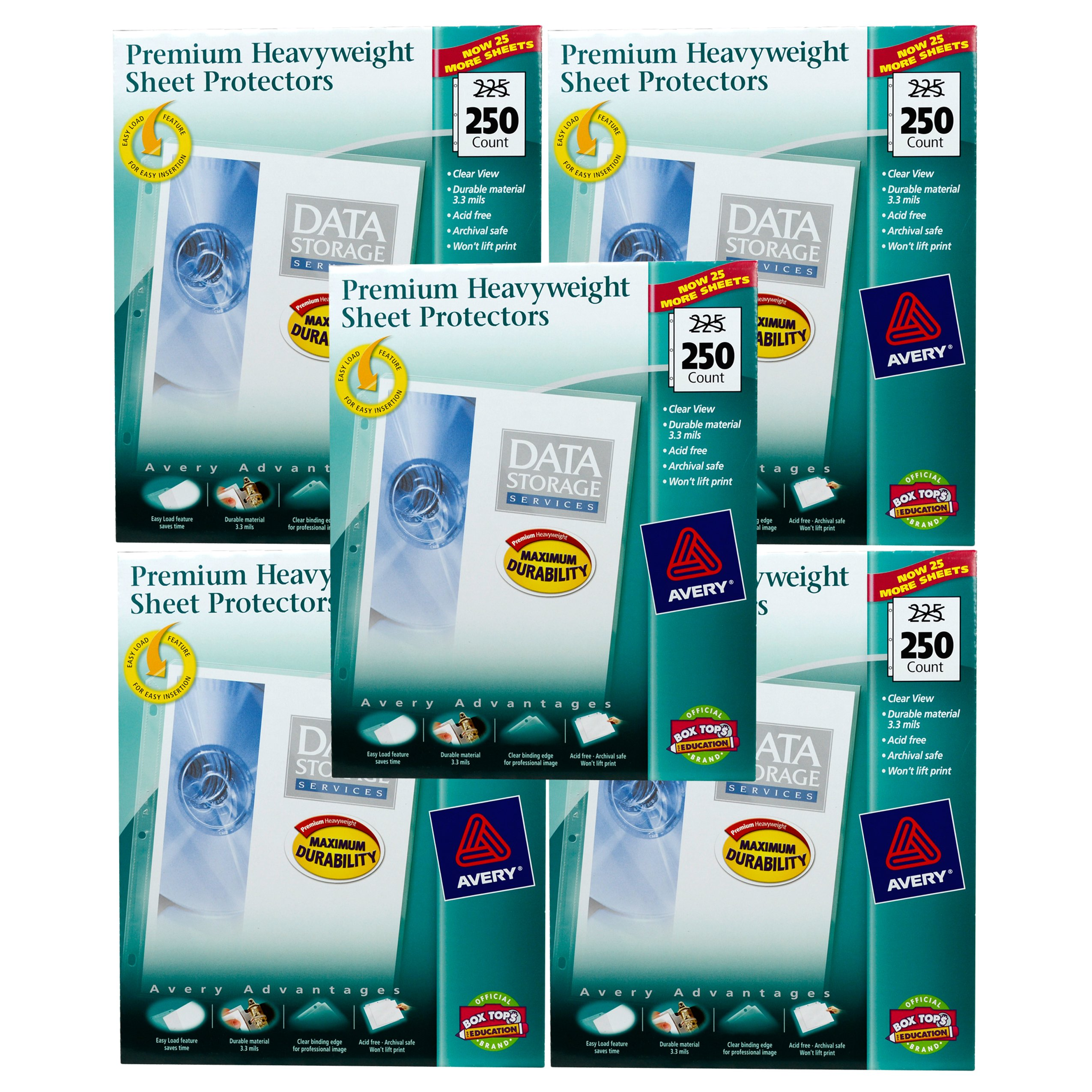 Avery Top Loading Clear Sheet Protectors, Heavyweight, 250 per Box #76006 (5 Pack) by AVERY