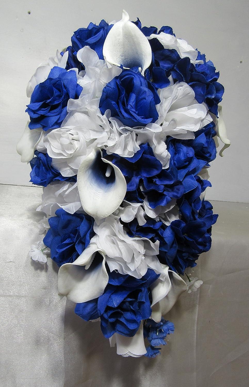 Amazon Com Royal Blue White Rose Calla Lily Cascading Bridal