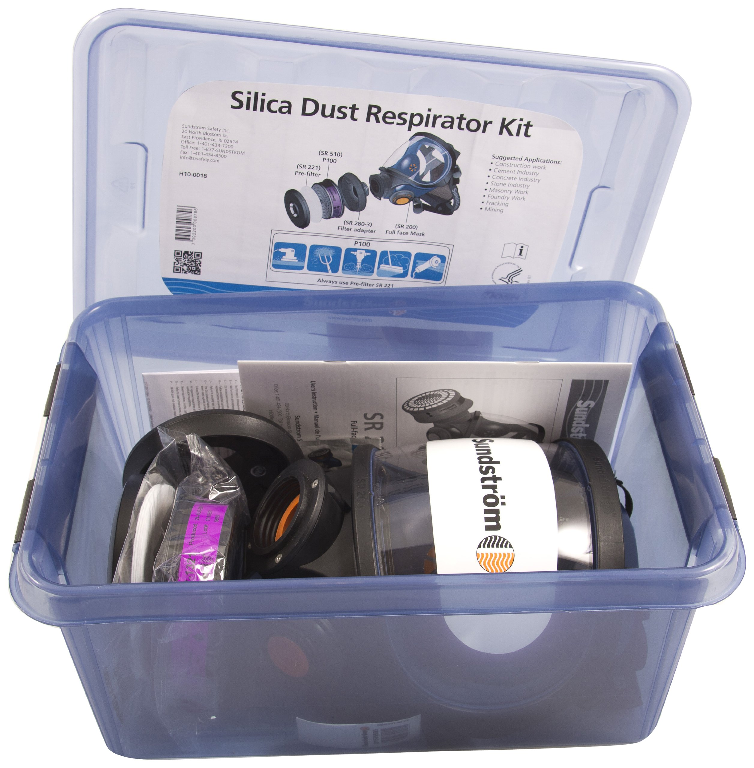 Sundstrom H10-0018 Silica Dust Respirator Kit with SR 200 Silicone Full Face Mask, P100/HE Particulate Filter and Prefilters