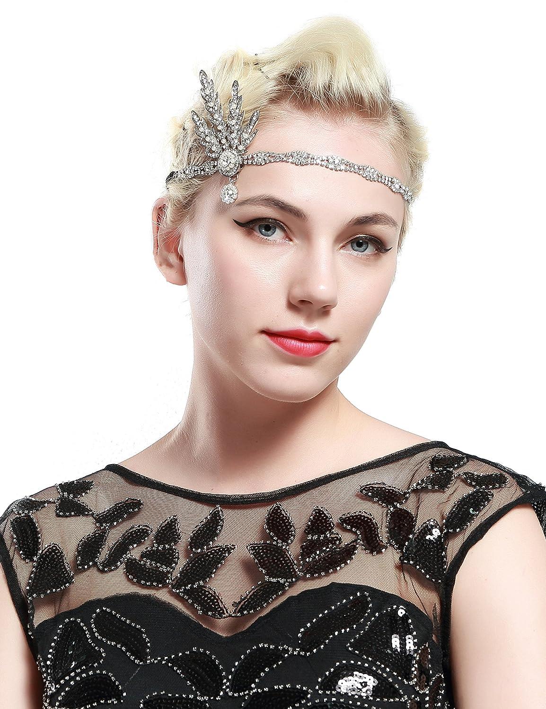 Babeyond Fascia Anni 20 Gatsby Flapper Headband Fascia Charleston Anni 20 Fascia Capelli Gatsby Cerchietto Sposa di Anni 20 Strass Cerchietto Foglie Strass Nero