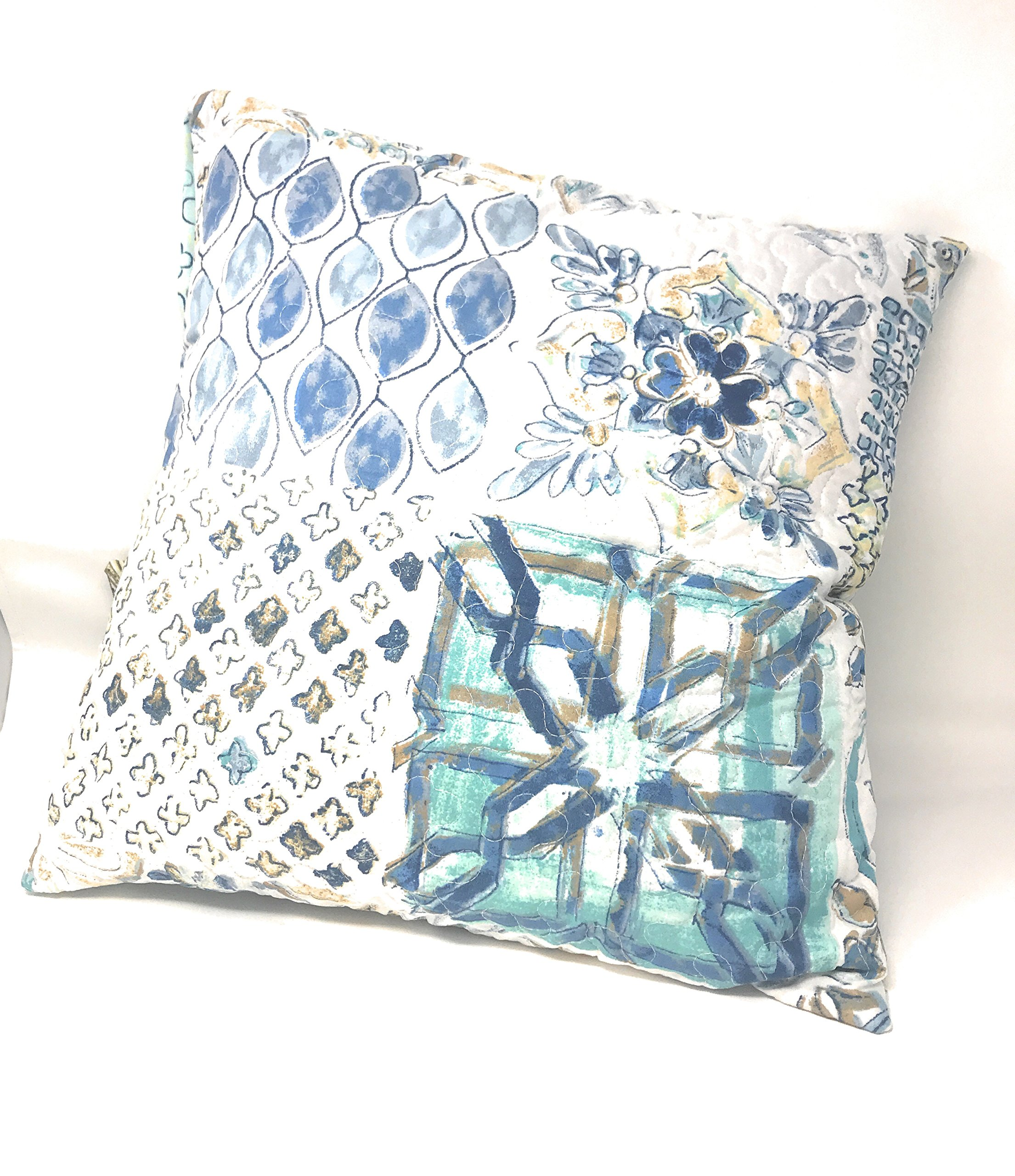 Tache Home Fashion Set of Two Watercolor Spring Time Square Pillow Accent Cushion Covers Cases - Bright Vibrant Multi Colorful Blue White Floral Print - 18'' x 18'' - 2-Pieces