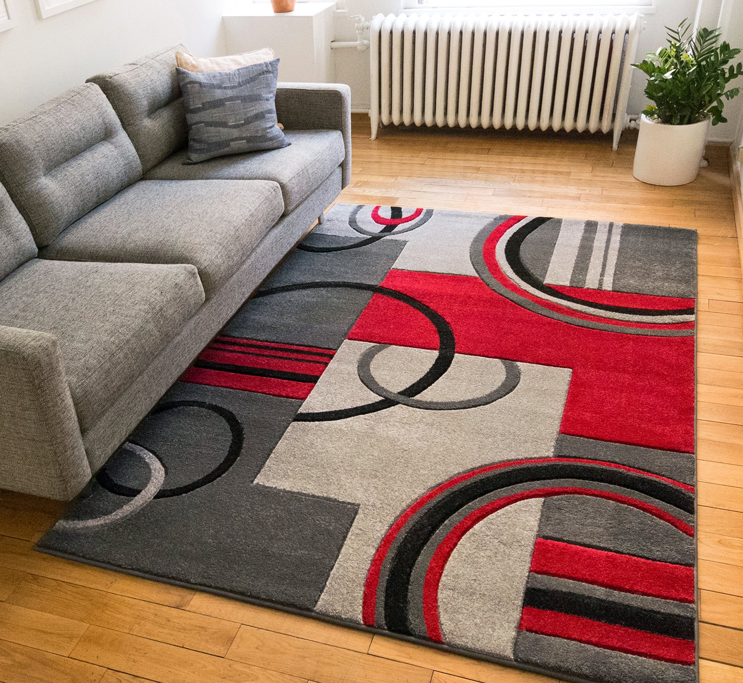 Area rug abstract contemporary echo shapes circles red for Red area rugs contemporary