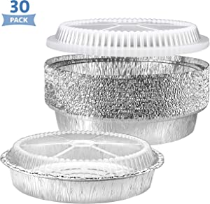 NYHI Round Aluminum Foil Pans 9-Inch | Disposable Tin Foil Pans with Clear Plastic Lids | Heavy-Duty Food Container Pie Dish Safe for Freezer & Oven | 30 Pack