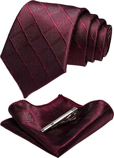 JEMYGINS Juego de corbata de cuadros multicolor y pa/ñuelo de bolsillo para hombre
