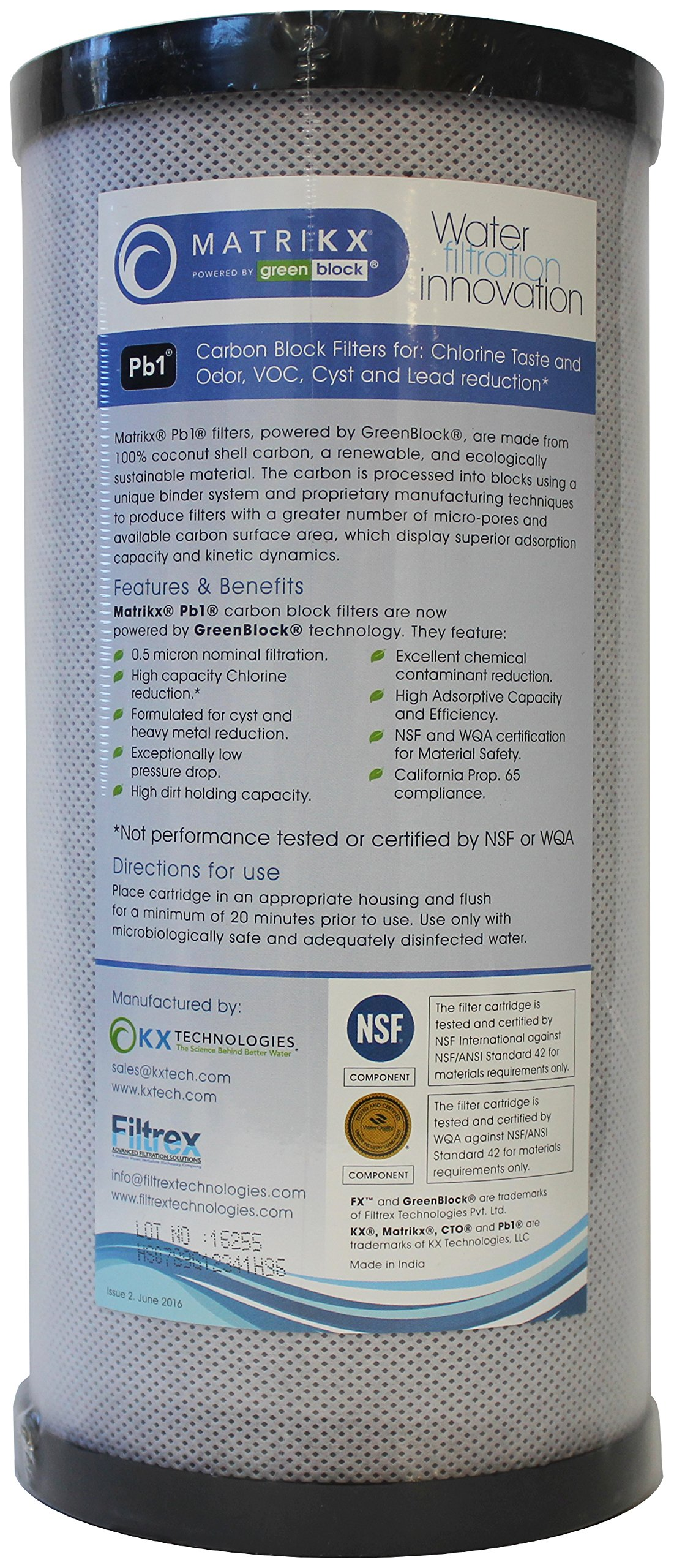 KX 06-450-10-GREEN | 10'' Big Blue Pb1 Carbon Block Filters for Chlorine Taste and Odor, VOC, Cyst and Lead Reduction | KX MatriKX Powered by GREENBLOCK | Replaces 06-425-125-975