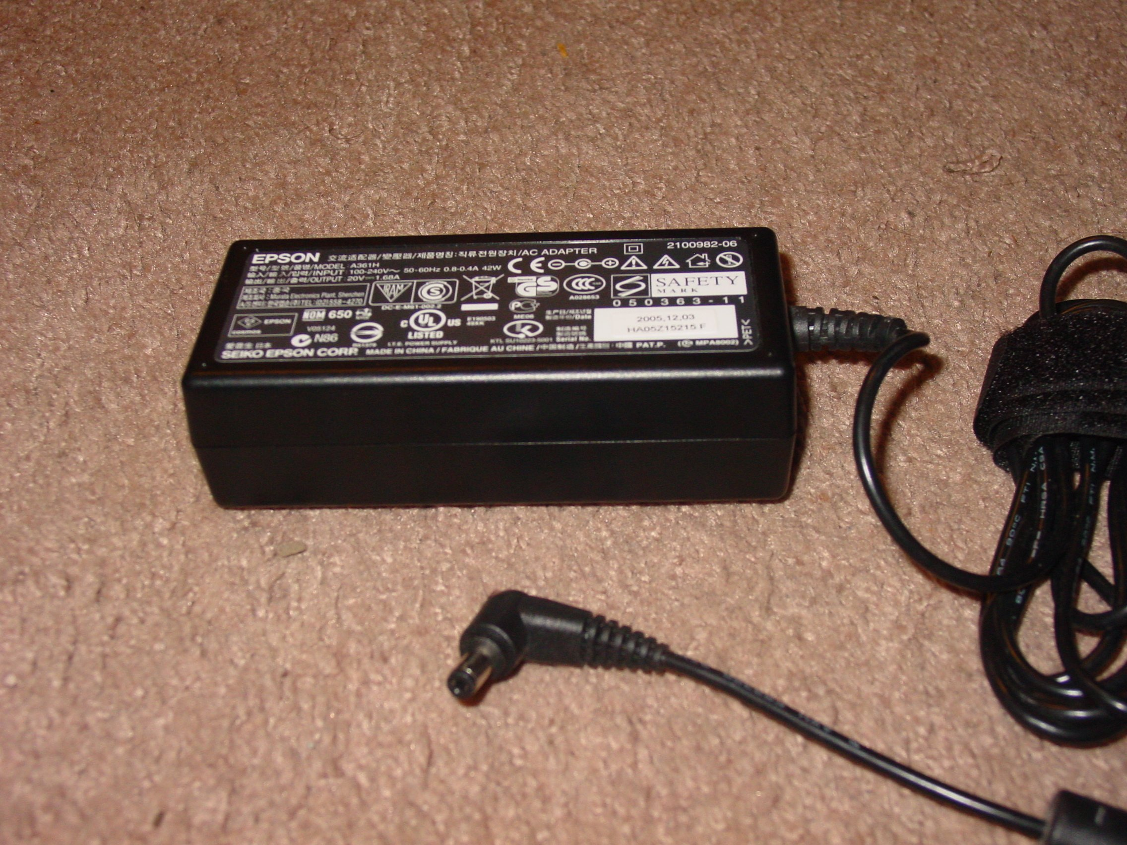 Epson AC Adapter Power Supply Printer Charger 20V 1.68A Model: A381H & 2108015-02