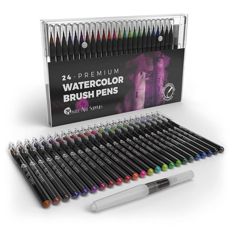 Castle Art Supplies Watercolor Brush–Set di 24penne vibrante pennarelli con punta flessibile spazzola in nylon per libri da colorare, calligrafia, disegno e scrittura–non tossico–include extra Water Brush Pen 4336950227
