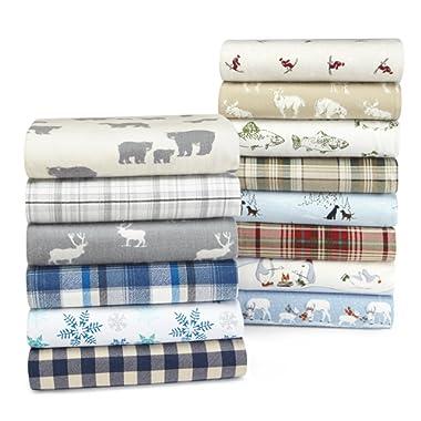 Eddie Bauer 216298 Elk Grove Flannel Sheet Set, King, Gray