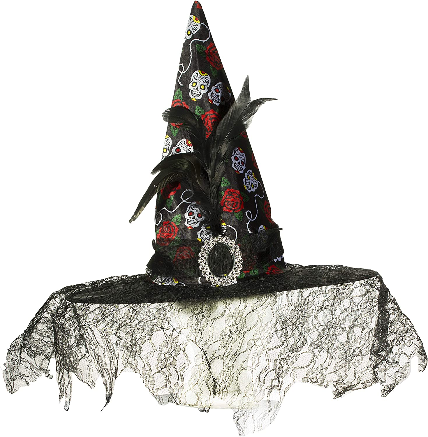 Day of The Dead Witch Hat w/ Sugar Skulls, Lace and Feather