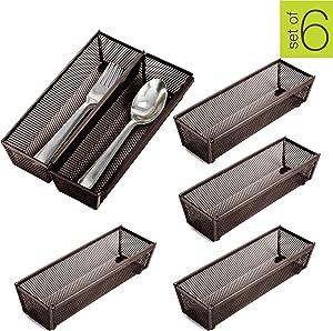 Smart Design Steel Metal Mesh Drawer Organizer w/Interlocking Ends - Utensils, Flatware, Organization - Kitchen (9 x 3 Inch) [Bronze] - Set of 6