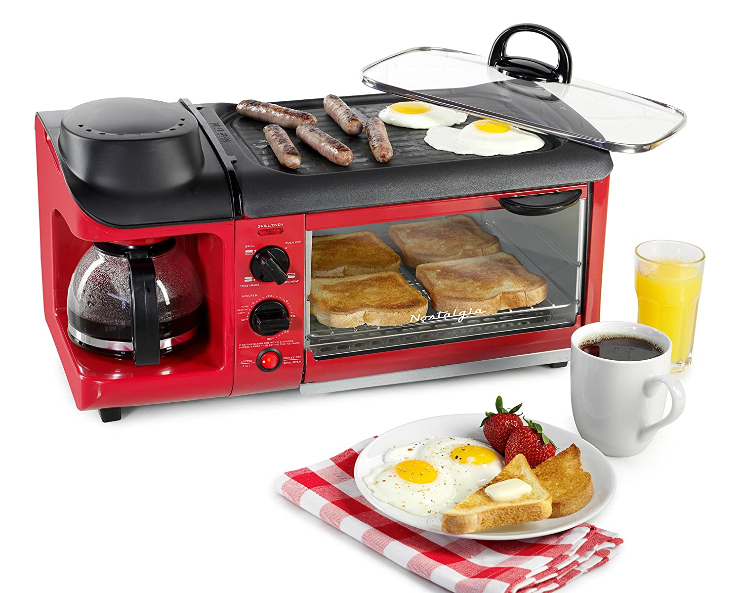 Nostalgia BSET300RETRORED 3-in-1 Family Size Breakfast Station, Red