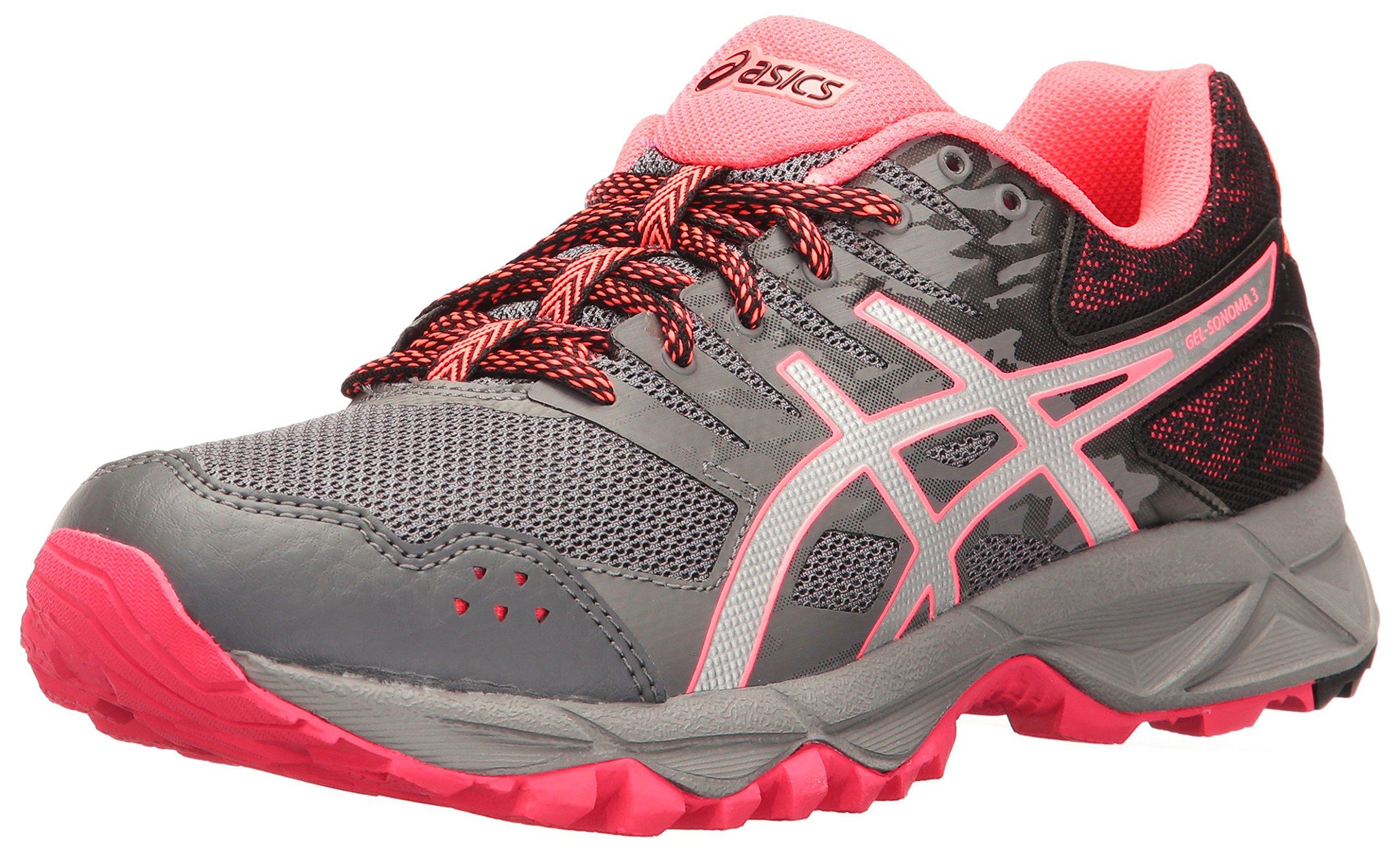 ASICS Women's Gel-Sonoma 3 Trail Runner, Carbon/Silver/Diva Pink, 11.5 M US