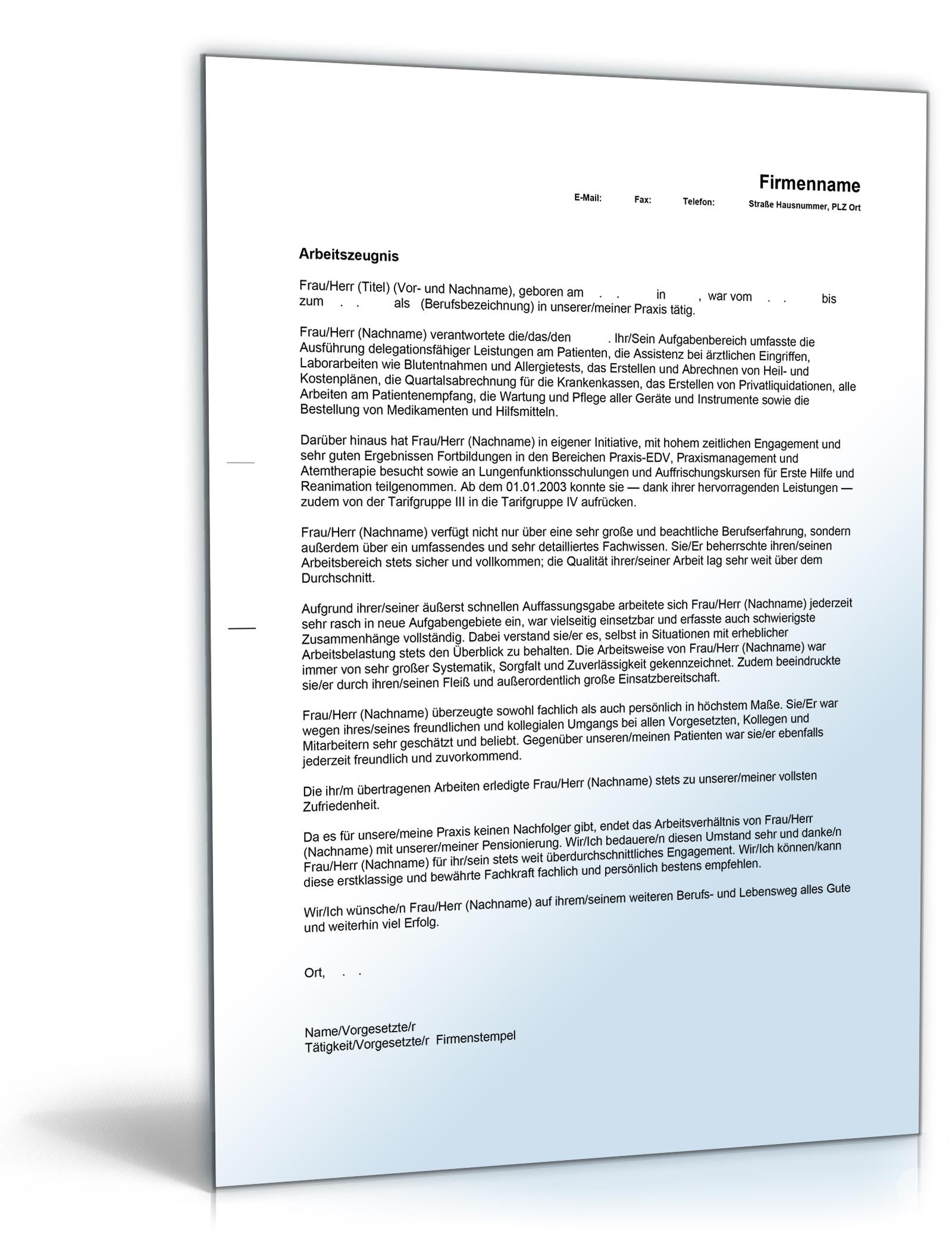 arbeitszeugnis medizinische fachkraft note eins word dokument amazonde software - Arbeitszeugnis Schreiben Muster