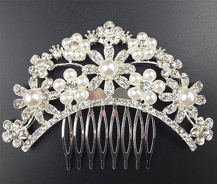 Txian matrimonio da sposa con fiore di cristallo STRASS perle pettine clip fe613309eadf