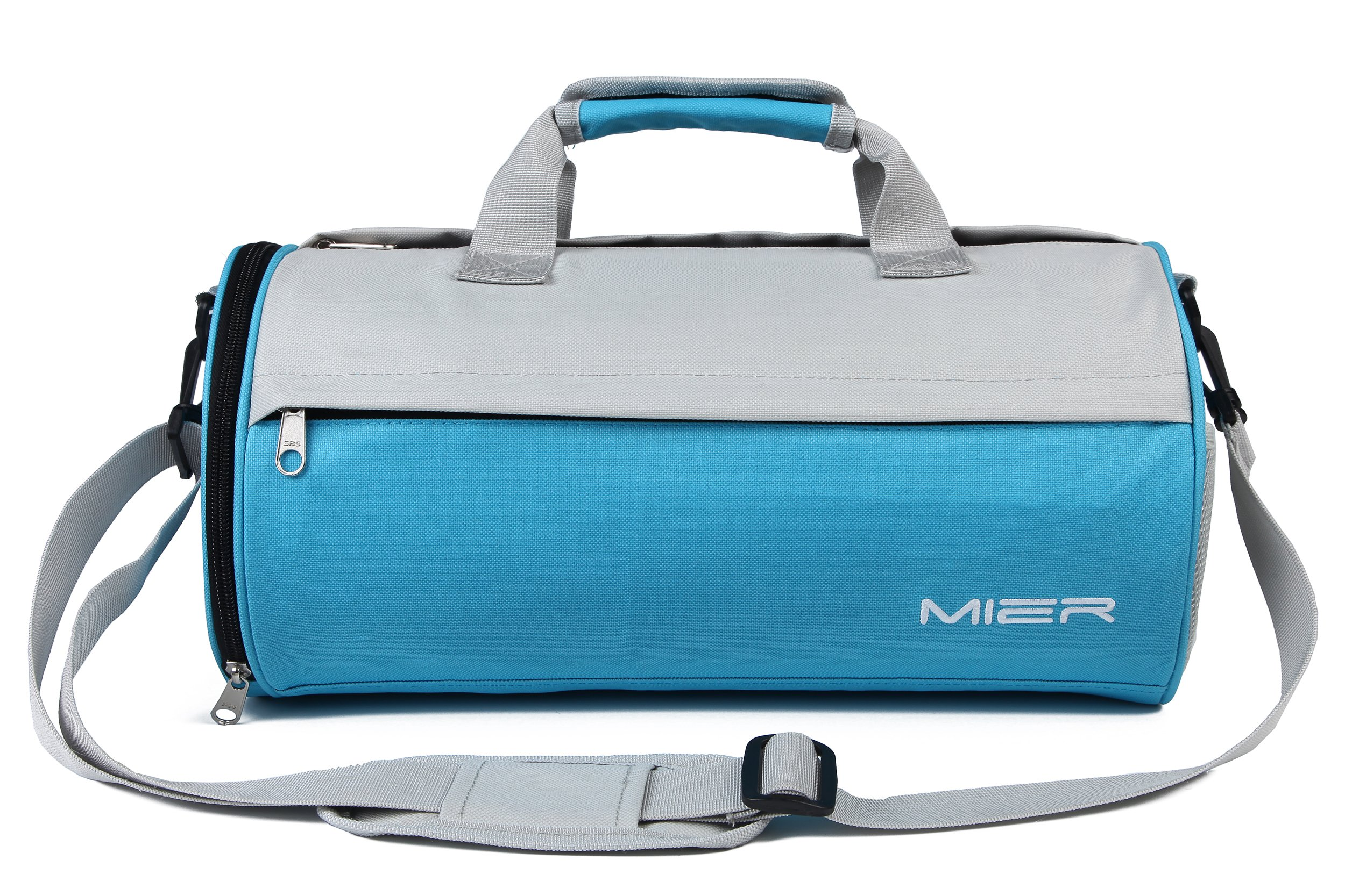 MIER Barrel Travel Sports Bag for Women and Men Small Gym Bag with Shoes Compartment 19.7inches(Blue)