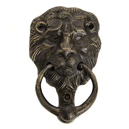 Cast Iron Lions Head Door Knocker Bronze With Screws 6w X 4